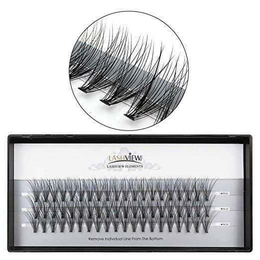 LASHVIEW 0.10mm 20 Root 14mm Medium Length Soft Individual Cluster Eyelashes Mink Fake Eyelashes Extension Handmade Grafting False Eyelashes Individual False Eyelashes Knot-free Natural Long